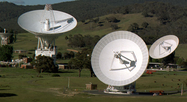 The Canberra Deep Space Communications Complex, located outside Canberra, Australia.