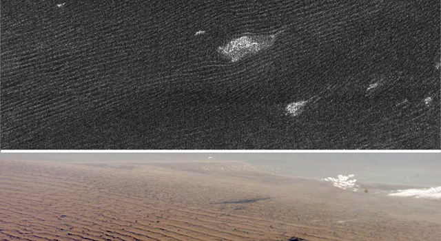radar view of sand dunes on Titan, top, and Namibian dunes on Earth