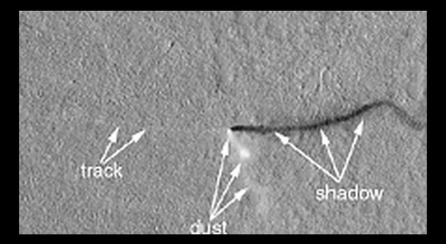 A dust devil spotted in Amazonis Planitia in April 2001