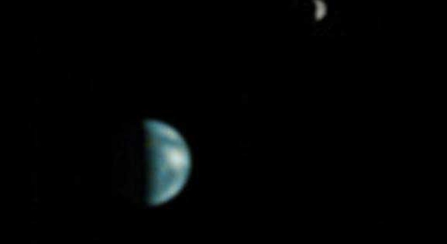 Earth and the Moon (in background), seen from Mars