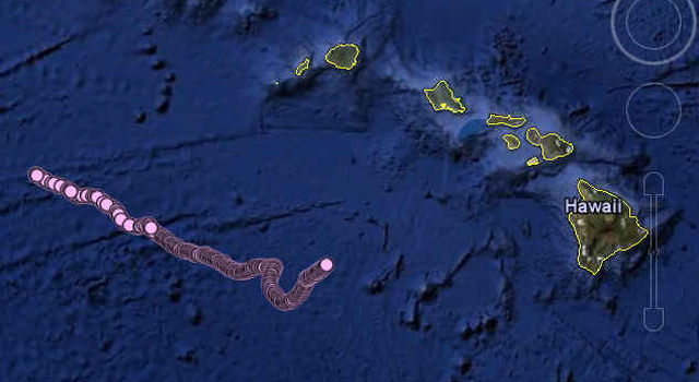 Plot map of the path of the SOLO-TREC autonomous underwater vehicle since its deployment south of Hawaii on Nov. 30, 2009.