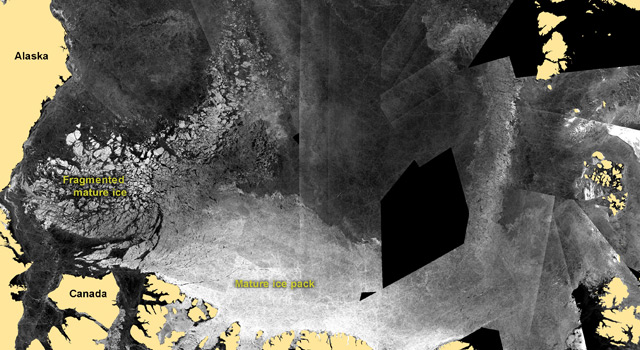 Satellite images showing the movement of fragmented ice away from ice edges