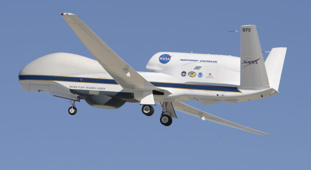 NASA's Global Hawk soars aloft from Edwards Air Force Base, Calif., on a functional check flight of the WISPAR aircraft payload system and science instruments.