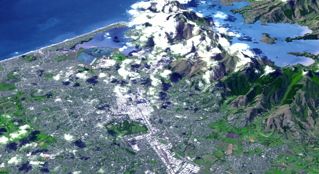 Perspective view of Christchurch, New Zealand, acquired Feb. 23, 2011 by the Advanced Spaceborne Thermal Emission and Reflection Radiometer (ASTER) instrument on NASA's Terra spacecraft.