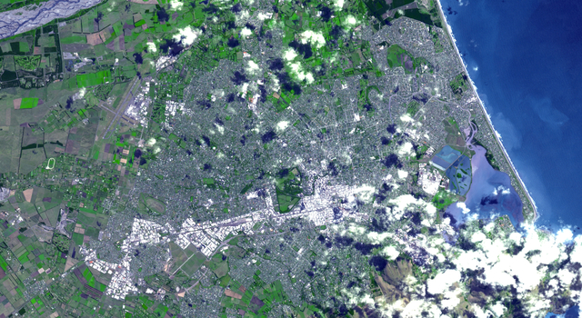 Nadir (straight down) view of Christchurch, New Zealand, acquired Feb. 23, 2011, by the Advanced Spaceborne Thermal Emission and Reflection Radiometer (ASTER) instrument on NASA's Terra spacecraft.