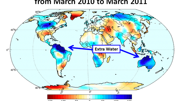 Gravity Recovery and Climate Experiment (Grace) map shows how much water was lost or gained