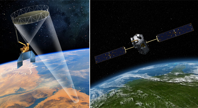 Artist's concept of the Soil Moisture Active Passive spacecraft (left) and Orbiting Carbon Observatory (right)