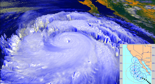 In September 1997, powerful Hurricane Linda, shown in this NASA rendering created with data from the NOAA GOES-9 satellite