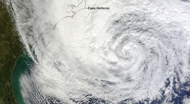 Hurricane Sandy as seen by the Moderate Resolution Imaging Spectroradiometer (MODIS)