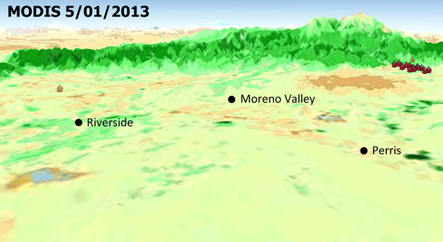 The quick dry-out of vegetation in Southern California this year is depicted in this pair of images