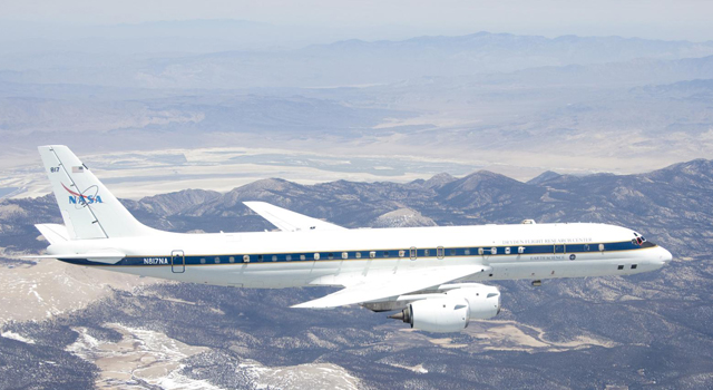 NASA's DC-8 flying laboratory will carry a team of scientists and their sensors for the Studies of Emissions