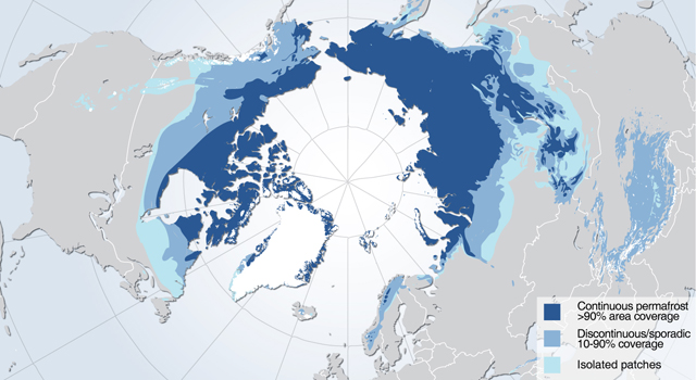 Permafrost zones occupy nearly a quarter of the exposed land area of the Northern Hemisphere.