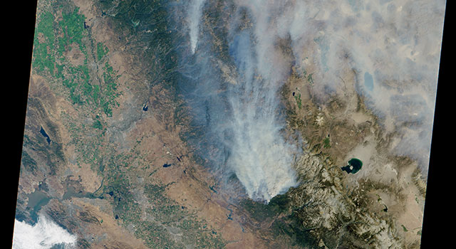 Visible image of California's Rim Fire acquired Aug. 23, 2013 by the Multi-angle Imaging SpectroRadiometer