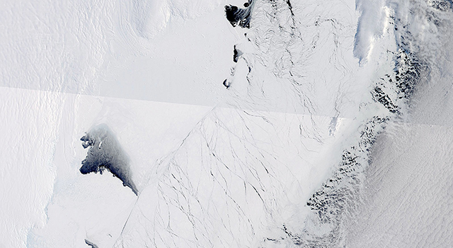 This image shows the Totten Glacier ice shelf in East Antarctica