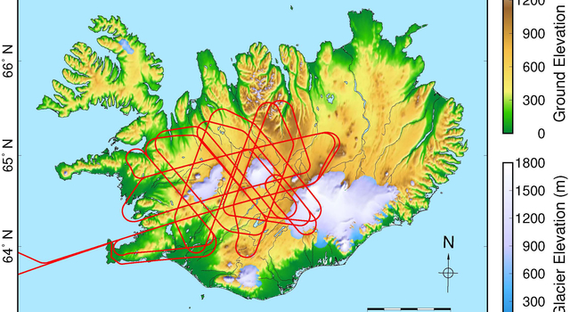Map of Iceland with UAVSAR flight paths