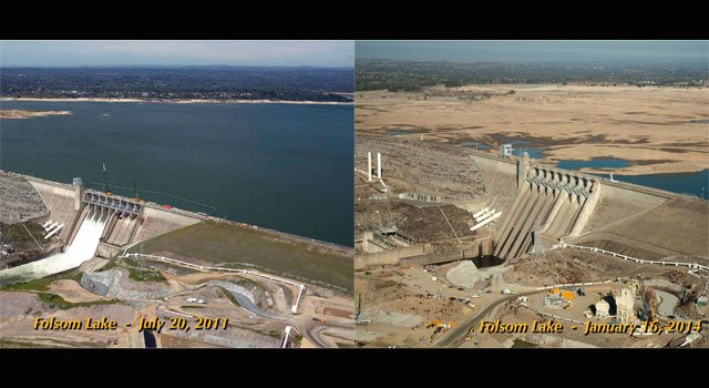 The severity of California's current drought is illustrated in these images of Folsom Lake, a reservoir in Northern California located 25 miles (40 kilometers) northeast of Sacramento.