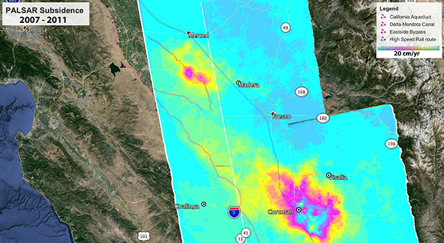 Map showing subsidence (sinking) rates in California's southern Central Valley from 2007 to 2011
