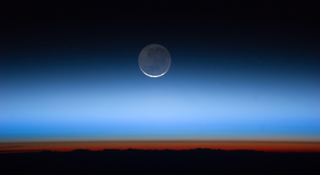 Astronauts aboard the International Space Station captured this photograph of Earth's atmospheric layers