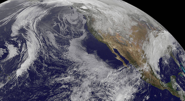 Low-level clouds along the California coast are visible in this July 26, 2014 image