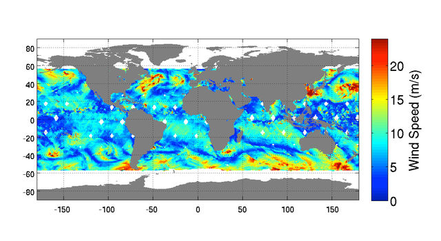 This composite image shows 48 hours of global ocean wind speeds recorded by ISS-RapidScat on Oct. 11-12.