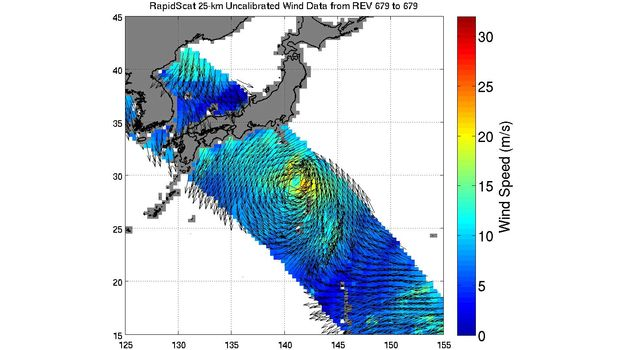 ISS-RapidScat viewed the winds within post-tropical cyclone Nuri as it moved parallel to Japan on Nov. 6, 2014 05:30 UTC.