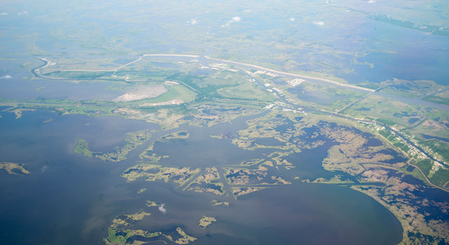 UAVSAR image of Wax Lake Delta at low tide captured during a flight on May 5, 2015.