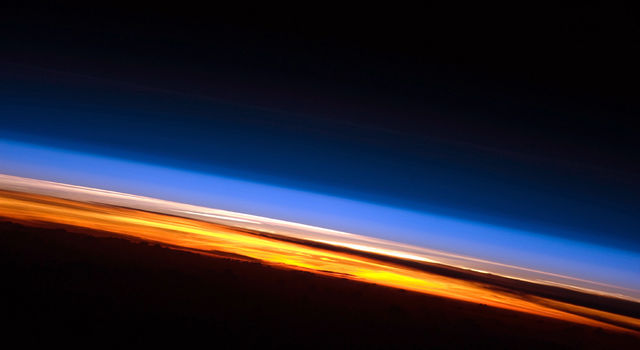 In this photo of sunset from the International Space Station, three atmospheric layers are distinctly visible.