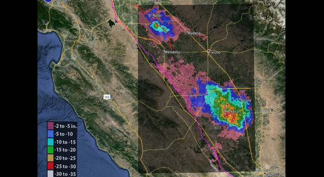Total subsidence in California's San Joaquin Valley