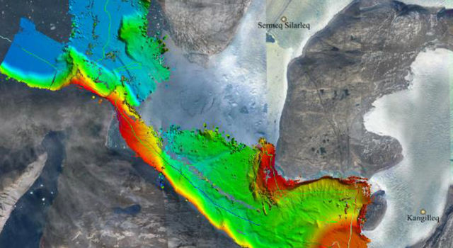 Seafloor depths on Greenland's west coast