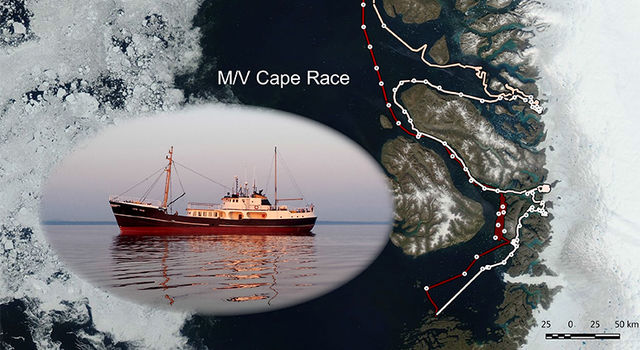The M/V Cape Race (inset) measured seafloor depths around Greenland this summer.