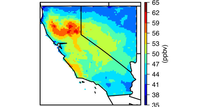 Monthly-mean maximum daily 8-hour average background ozone concentration in parts per billion in California and Nevada