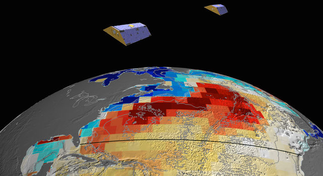 GRACE satellites measured Atlantic Ocean bottom pressure as an indicator of deep ocean current speed.