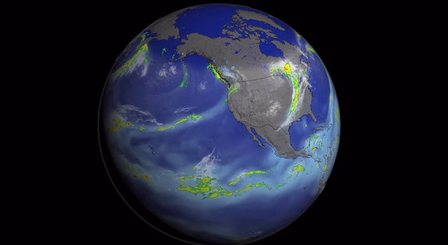 An atmospheric river travels across the Pacific to California Oct. 25 to Nov. 2, 2014.