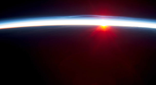Earth's atmosphere viewed from the International Space Station.