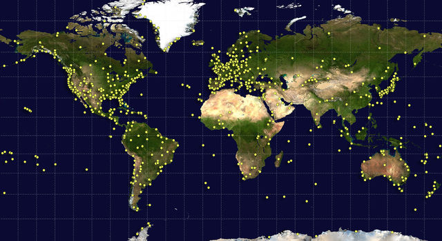 Sites around the world (yellow dots) contributed data and serve as landmarks along a trail