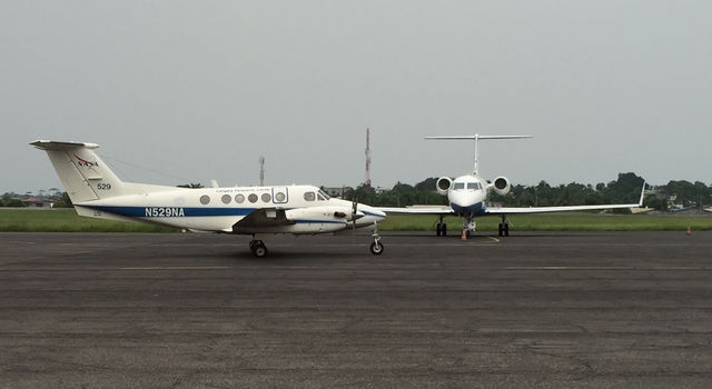 The two NASA AFriSAR research aircraft: the B-200 airplane (left) carries a laser altimeter