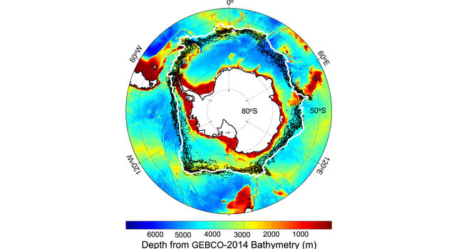 Location of the southern Antarctic Circumpolar Current front (white contour), with -1 degree Celsius sea surface temperature lines (black contours).