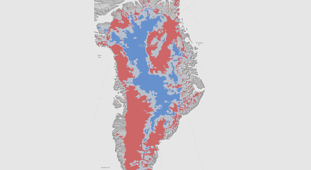 Greenland Ice Sheet are likely thawed (red), frozen (blue) or still uncertain (gray)