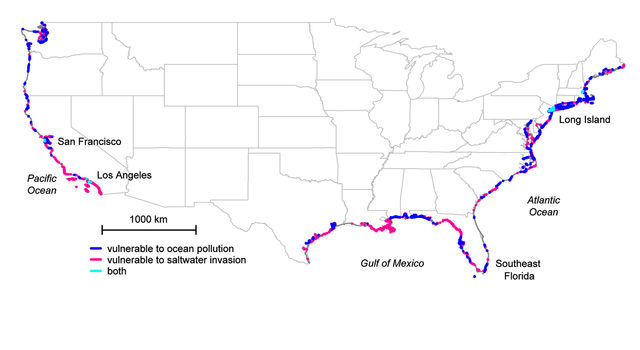 U.S. coastal areas where freshwater and seawater mix unseen below ground.