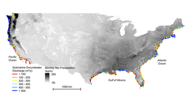 Map of hidden below-ground land-to-sea water transfers along the coast of the continental United States.