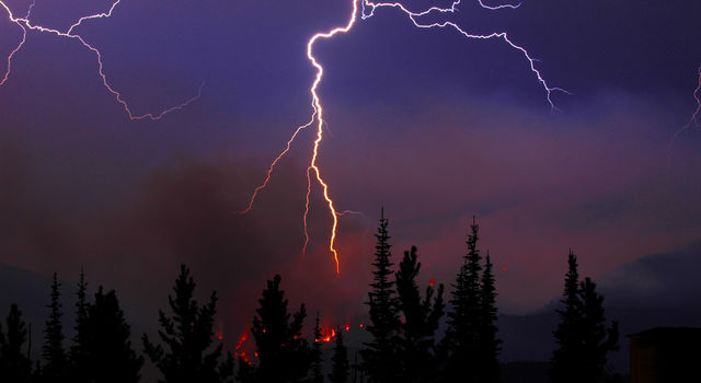 A lightning-caused wildfire burns in Alberta, Canada.
