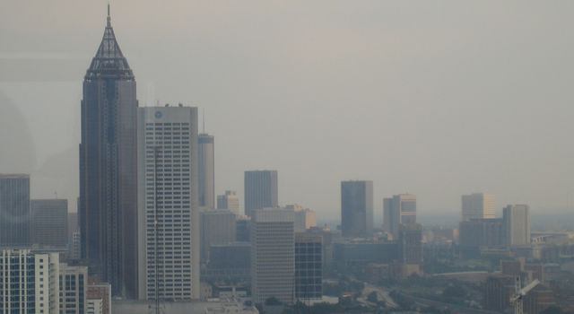Looking through smog in downtown Atlanta from midtown.