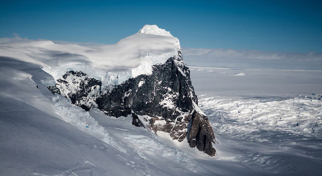 A rock outcropping on Fleming Glacier.