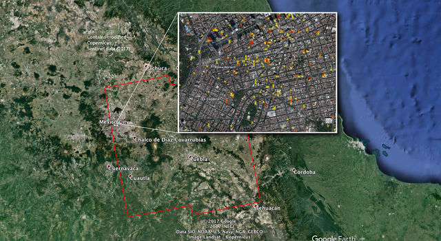 NASA/JPL-Caltech-produced map of damage in and around Mexico City from the Sept. 19, 2017.