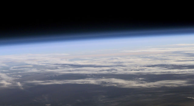 View of Earth's atmosphere from space