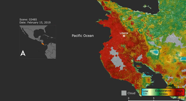 This ECOSTRESS image shows plant stress in the Guanacaste region of Costa Rica (shown in red on inset map) a few months after a major Central American drought began.