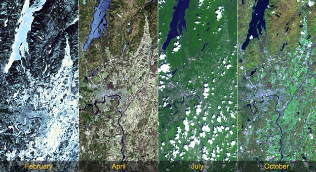 The change of seasons is vividly displayed in four satellite images of Lake George, New York