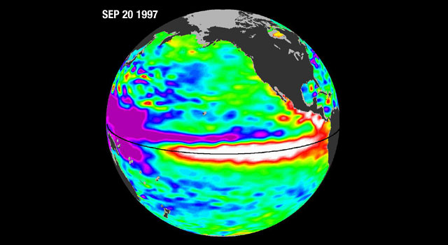 A satellite image of the 1997-1998 El Nino