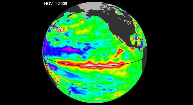 Satellite image of El Niño picking up steam