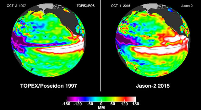 El Niño (left) are compared with 2015 Pacific conditions (right).